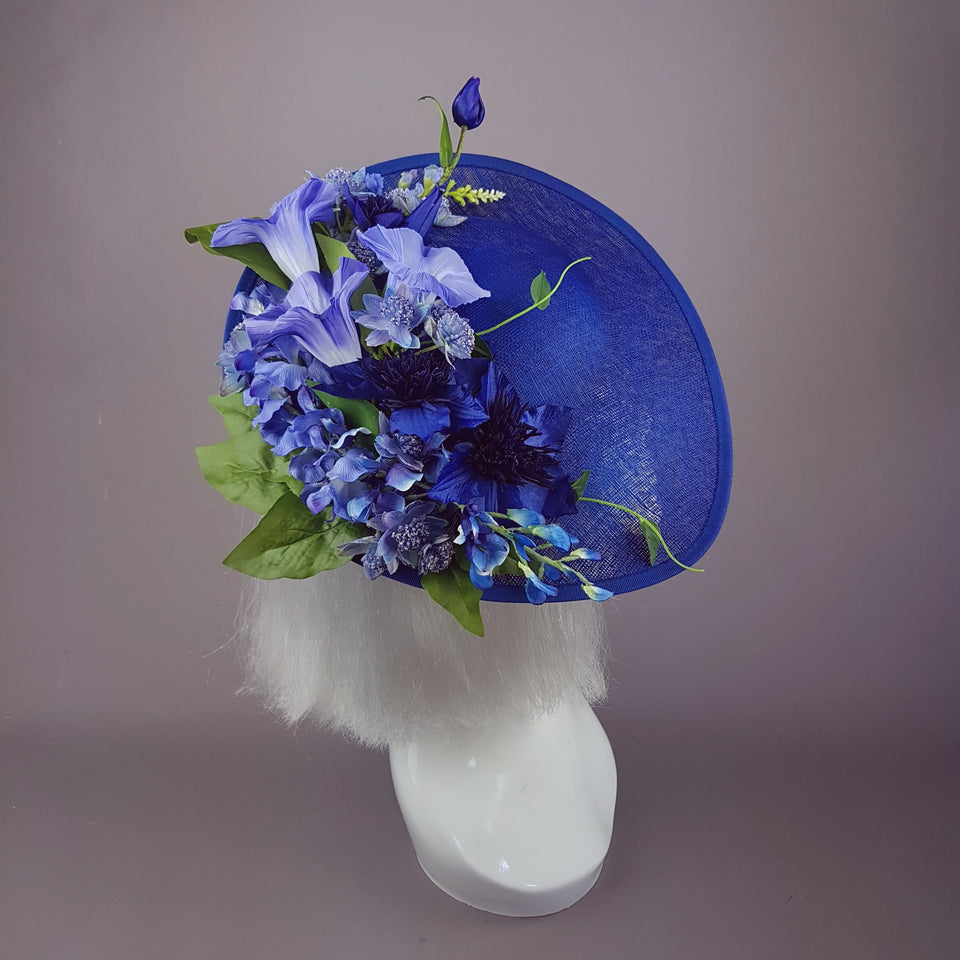 """Delphine"" Navy Blue Flowers Fascinator Hat"