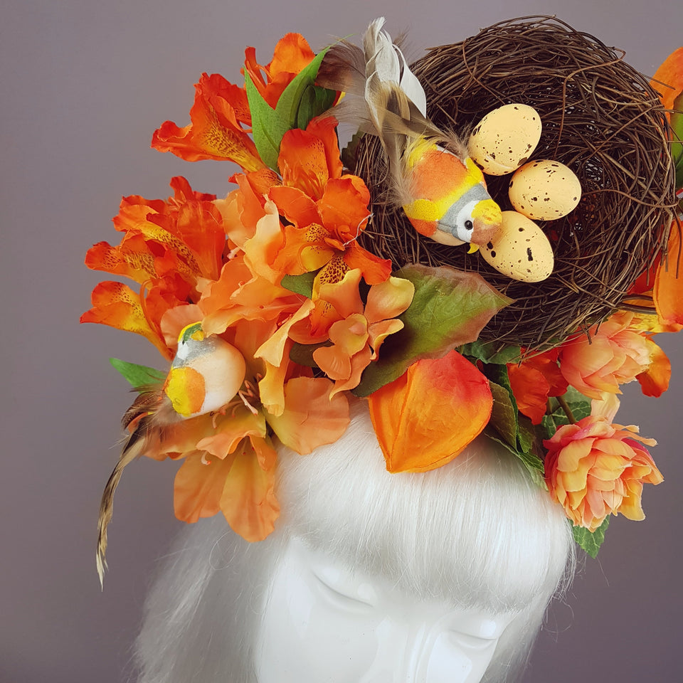 Orange Flower & Birds Nest Headpiece