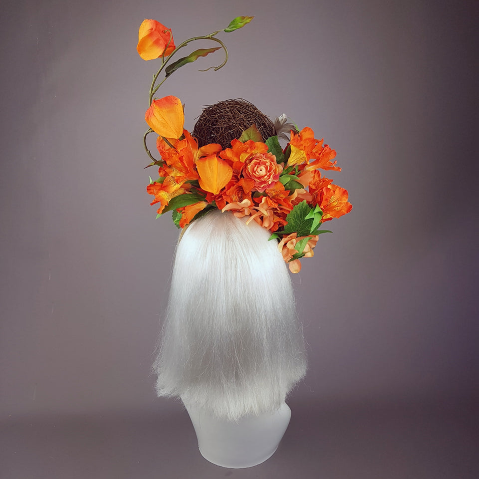 """Parisa"" Orange Flower & Birds Nest Headpiece"