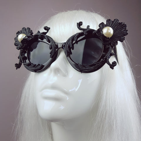 """Sereia"" Black Baroque Filigree & Pearl Cats Eye Sunglasses"