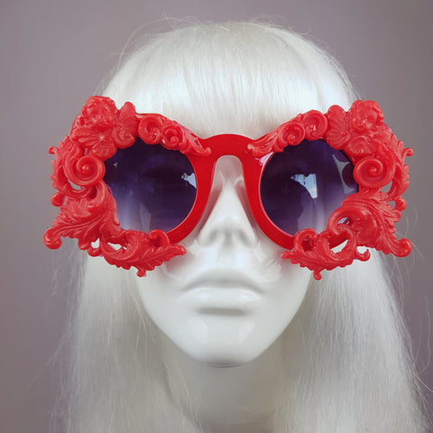 """Onoskelis"" Red Filigree & Cherub Baroque Sunglasses"
