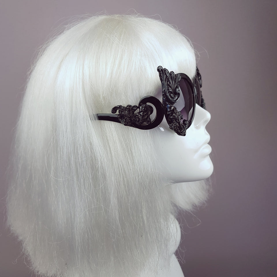 """Proserpine"" Opulent Black Filigree Sunglasses"