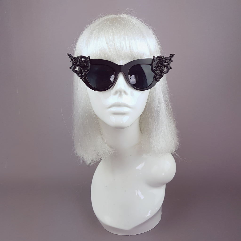 """Yachemi"" Black Cats Eye Baroque Sunglasses"