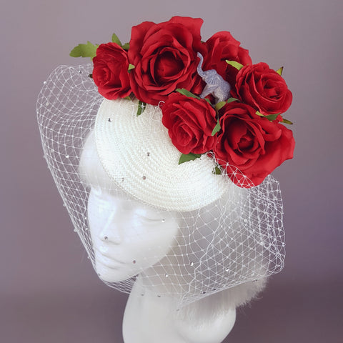 """Nellie"" Red Roses & Elephant Ivory Veil Hat"