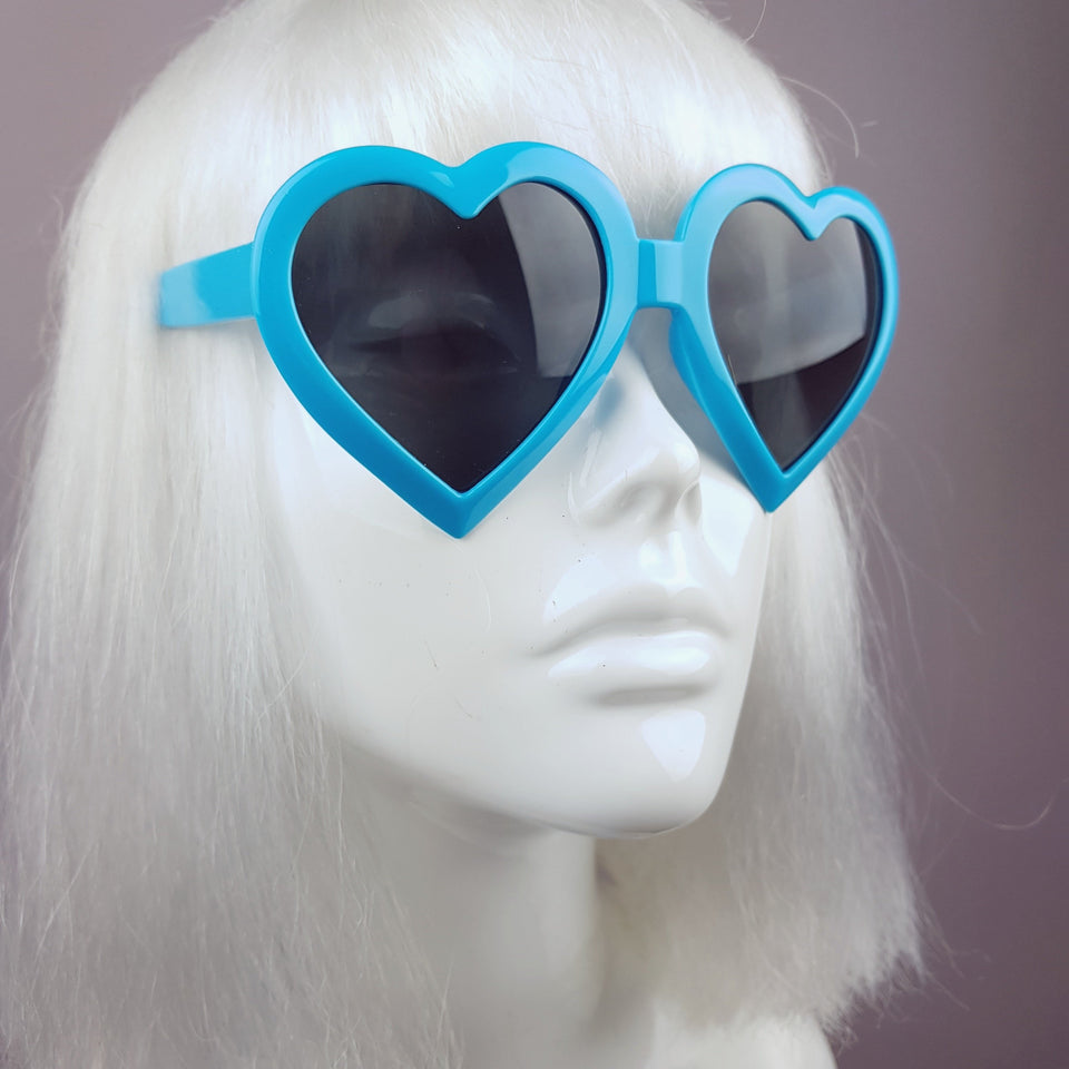 Blue Heart Shaped Lenses Sunglasses - SPECIAL OFFER