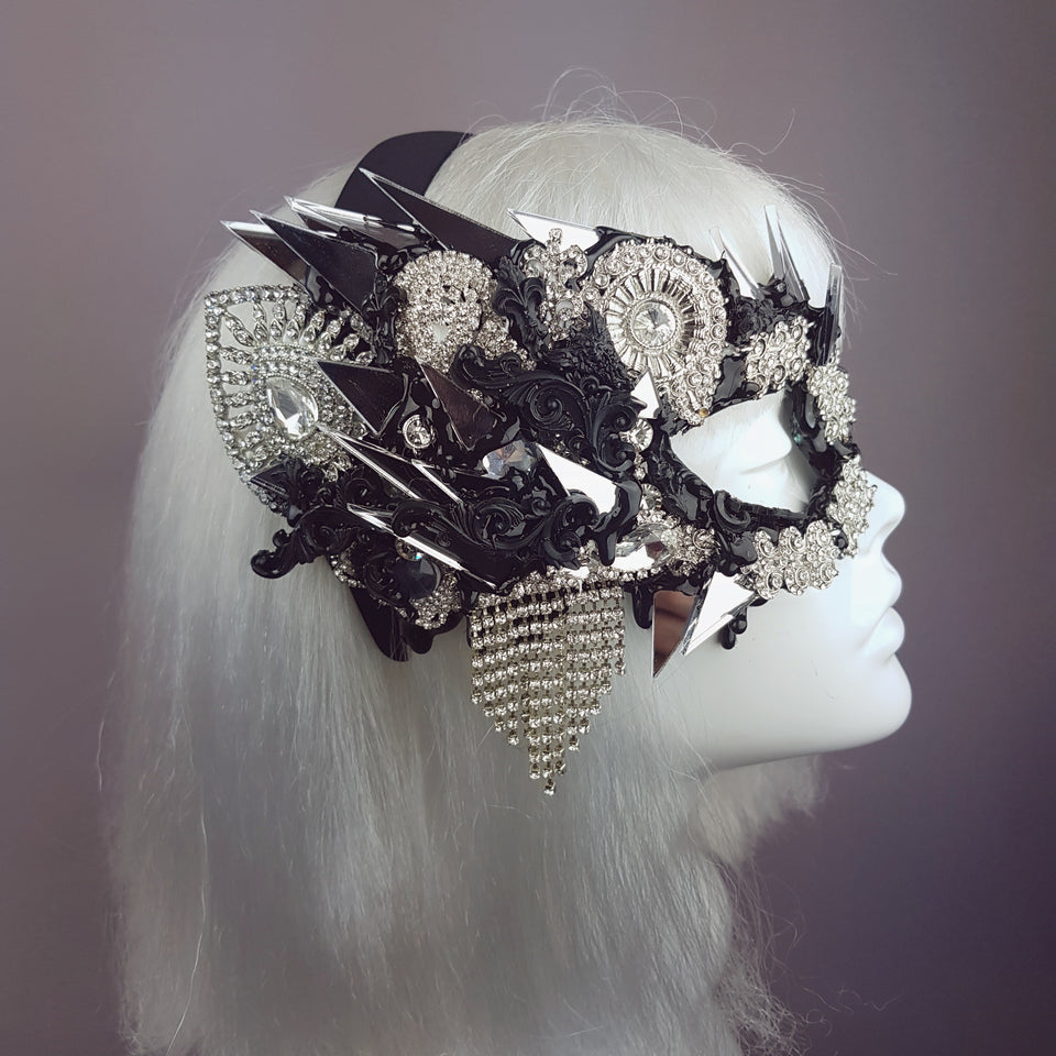 """Demonica"" Black Silver Jewel & Mirror Half Mask"
