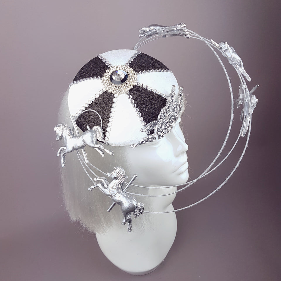 """Cirque"" Black & White Circus Carousel Wired Veil Hat"