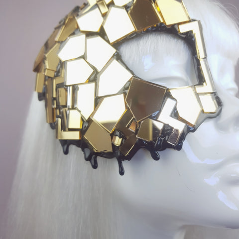 """Studio 54"" Black & Gold Mirror Mask"