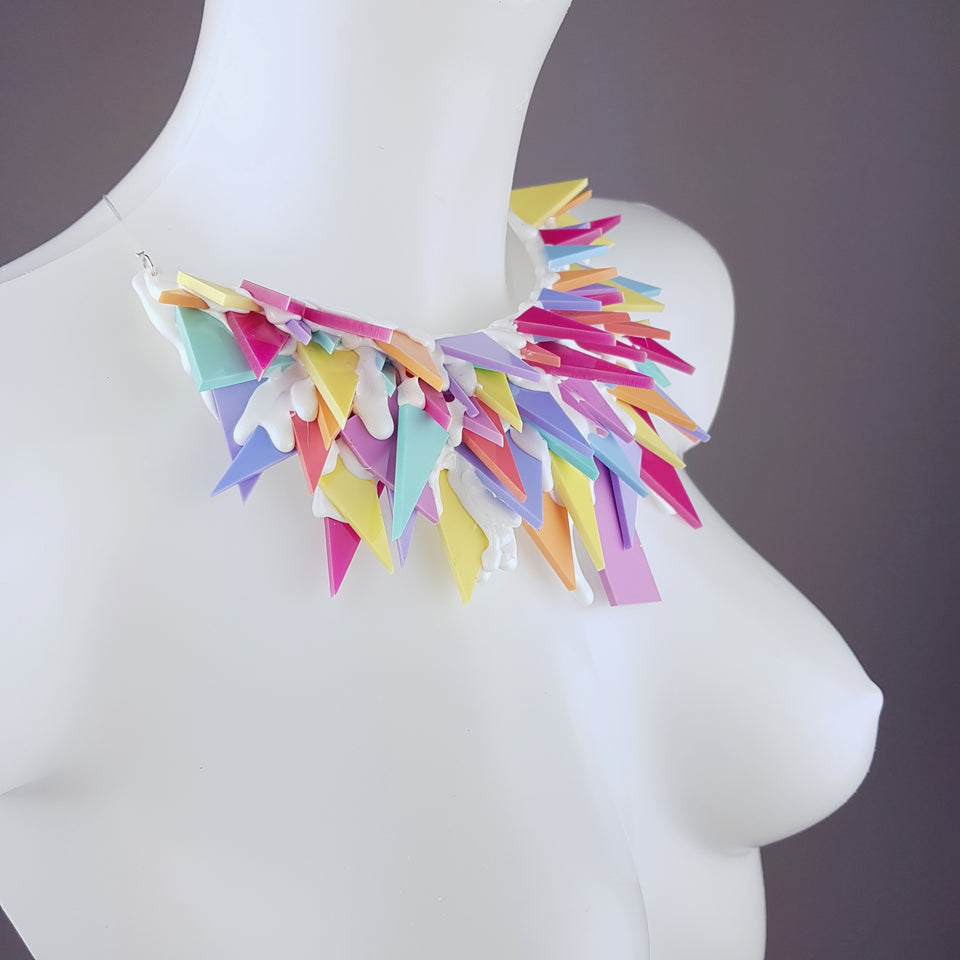 """Rock Candy"" Colourful Perspex (No Hugs) Neckpiece"