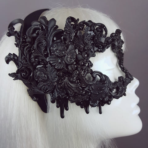 """Désiré"" Black Filigree Baroque Gothic Mask"