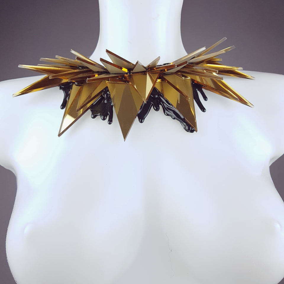 """Disco Diva"" Gold Mirror Perspex (No Hugs) Neckpiece"