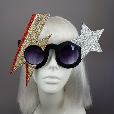 """Golden Years"" David Bowie Gold Stripe Sunglasses"