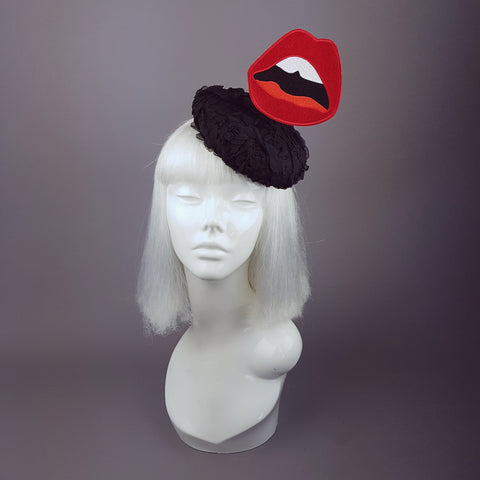"""Lèvres"" Red Lips on Black Lace Hat"