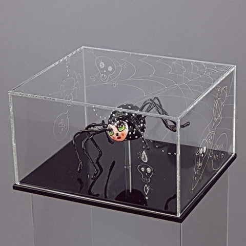 """Graphomoa"" Pop Surreal Spider Doll Sculpture in A Hand Engraved Clear Box"
