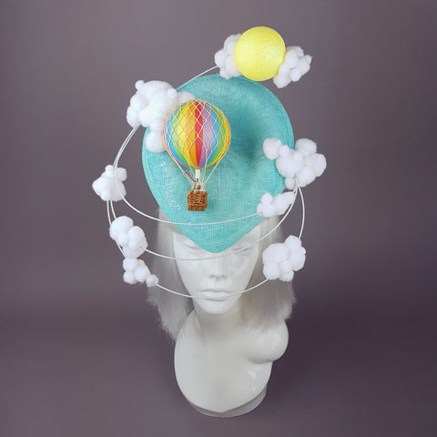 """Day Dreamer"" Hot Air Balloon, Sun, Clouds Fascinator Hat"