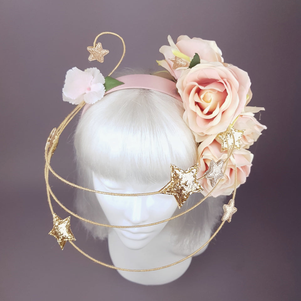 """Violar"" Pink Rose & Gold Star Headpiece"