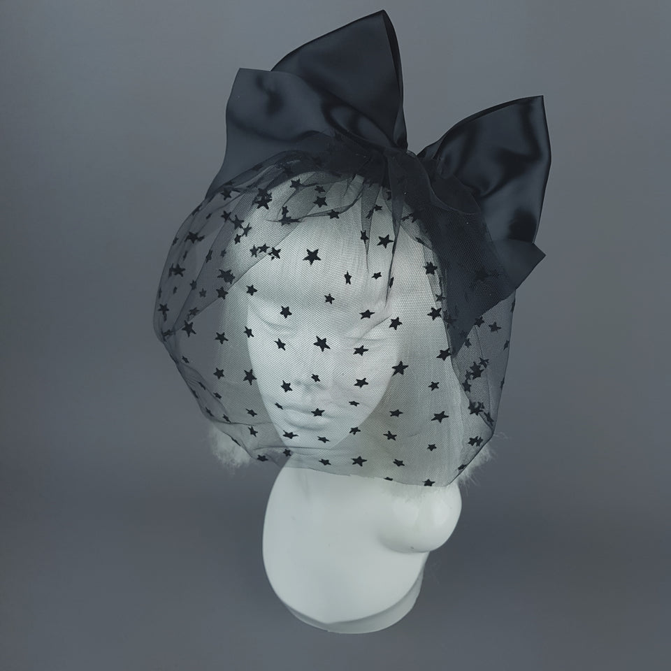 """Seeing Stars"" Black Star Veil with Bow Headband"