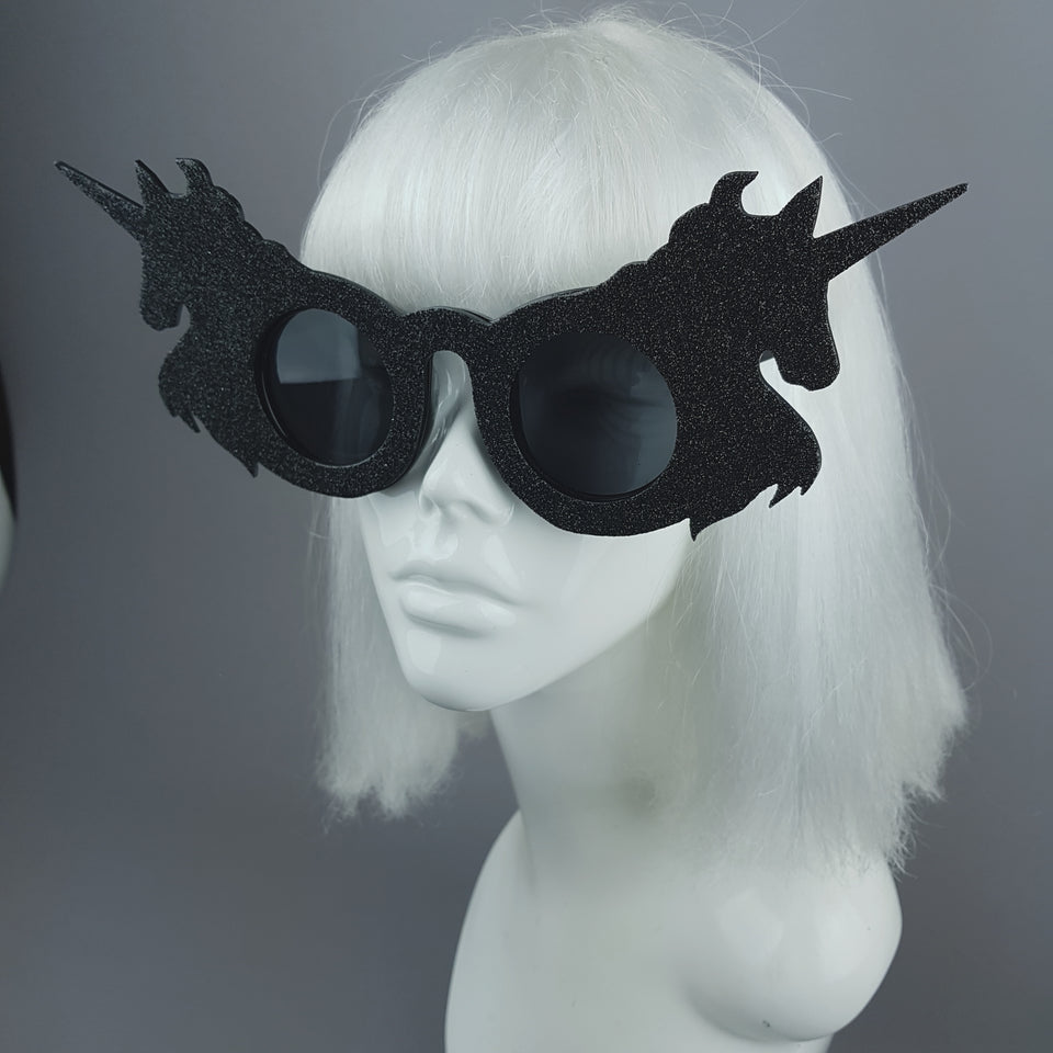 """Black Magic"" Glitter Unicorn Sunglasses"