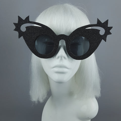 """Nightsky"" Black Glitter Stars Sunglasses"