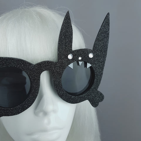 """Vampire Bunny"" Black Glitter Rabbit Sunglasses"