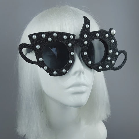"""Midnight Tea Party"" Black Teapot & Teacup Sunglasses"