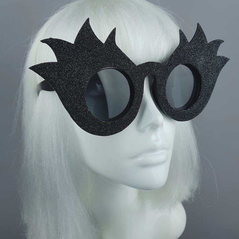 """Black Tulip"" Glitter Flower Sunglasses"