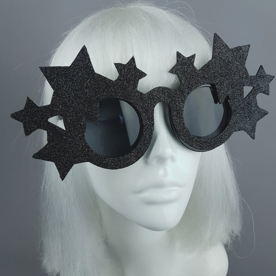 """Dark Star"" Black Glitter Stars Sunglasses"