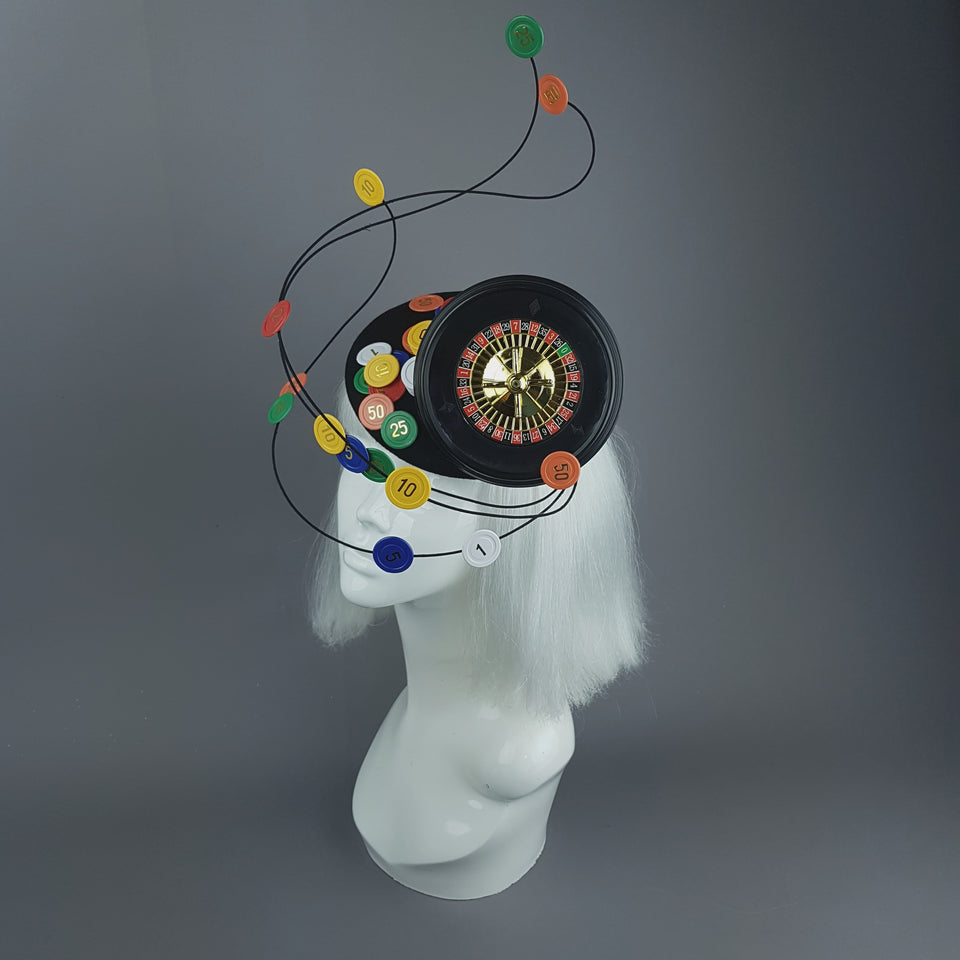 """Lucky Streak"" Roulette Casino Chips Fascinator Hat"