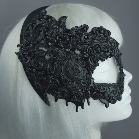 """Abaddon"" Black Filigree Baroque Gothic Mask"