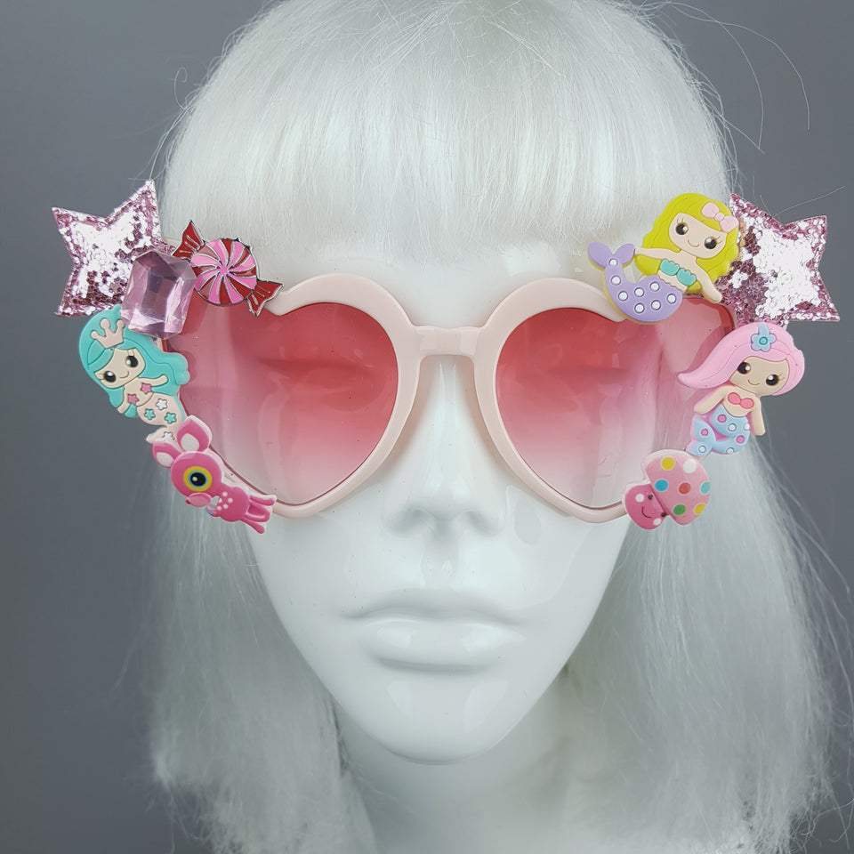 Customised Pink Heart Sunglasses