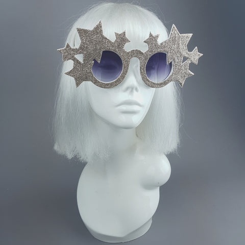 """Bright Star"" Gold Glitter Stars Sunglasses"