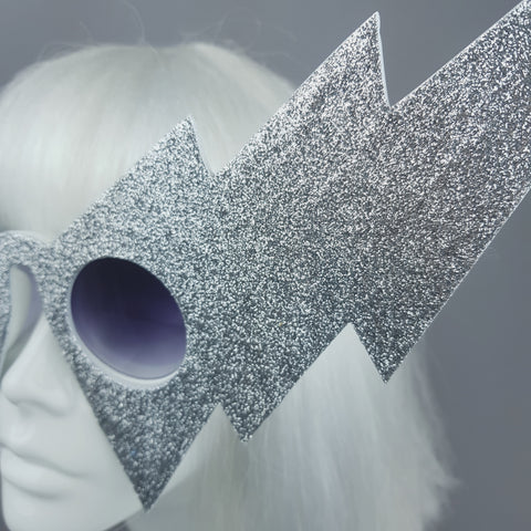 """Ice"" Silver Glitter Lightening Bolt Sunglasses"