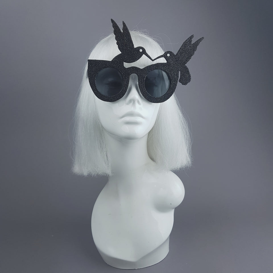 """Silueta"" Black Glitter Hummingbird Sunglasses"