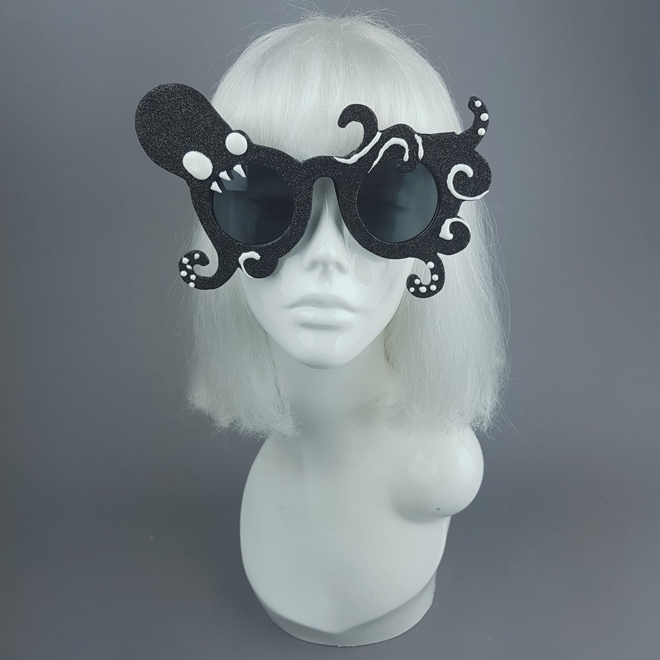 """Monstre"" Black Glitter Octopus Sunglasses"