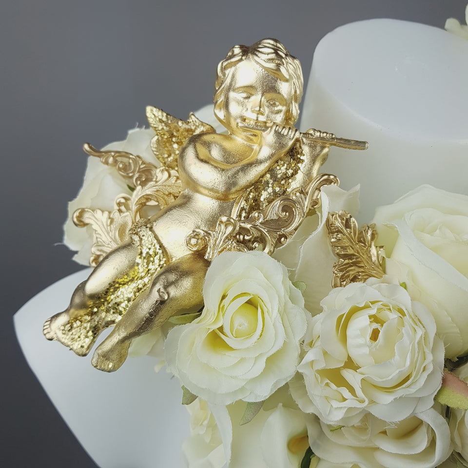 """Worship"" OTT Gold Cherub & Ivory Rose Moulded Shoulder/Neckpiece"