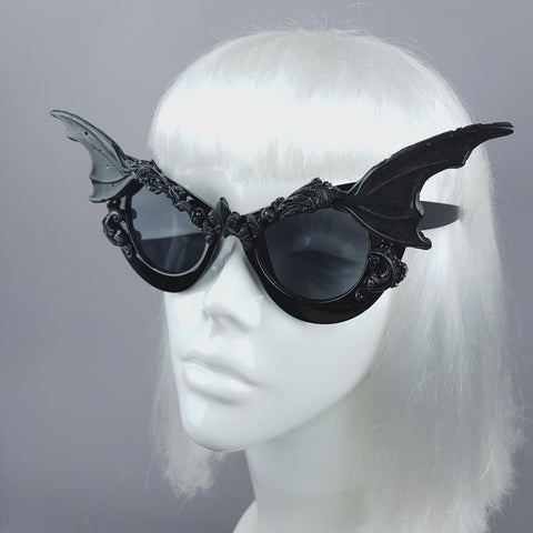 """Vamp"" Bat Wing Filigree Catseye Sunglasses"