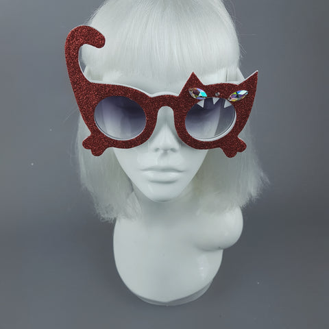 """Sassy"" Red Glitter Cat Sunglasses"