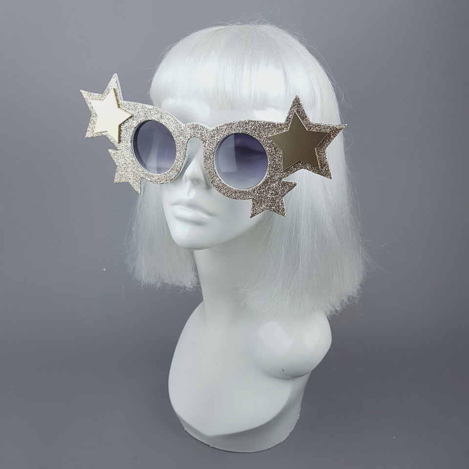 """Goldie"" Gold Glitter Stars Sunglasses"