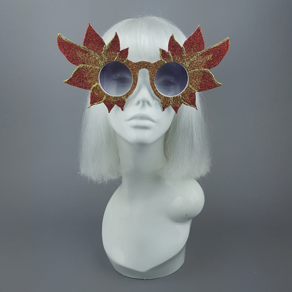 """Hot As Hell"" Large Glitter Fire Flame Sunglasses"