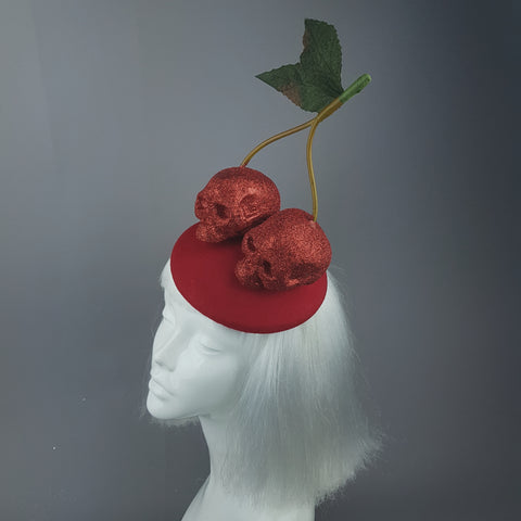 """Cerises"" Large Red Glitter Skull Cherries Fascinator Hat"