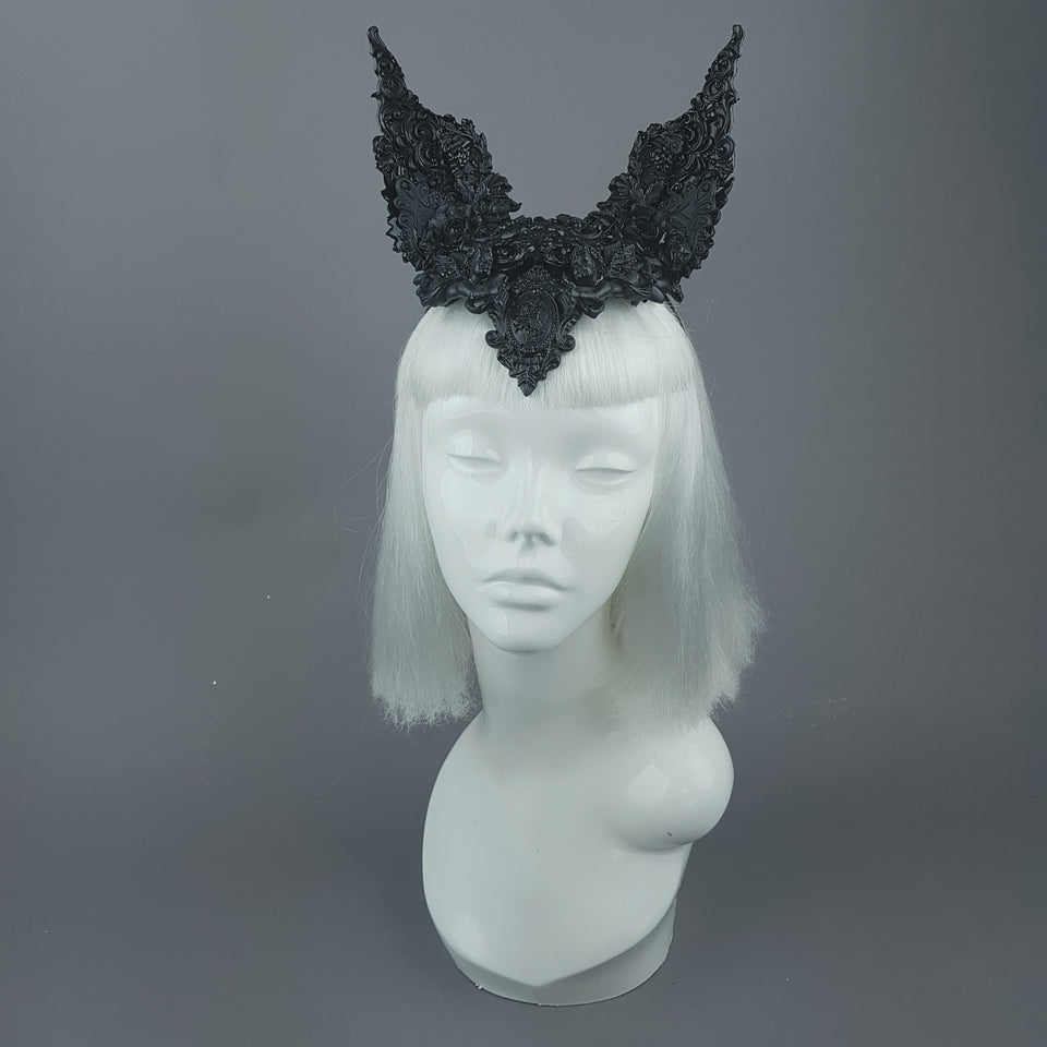 """Murciélago"" Black Filigree Baroque Gothic Bat Ears"