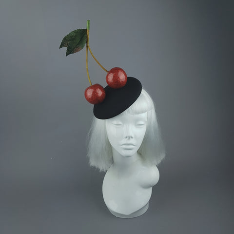 """Chérie"" Large Red Glitter Cherries Fascinator Hat"