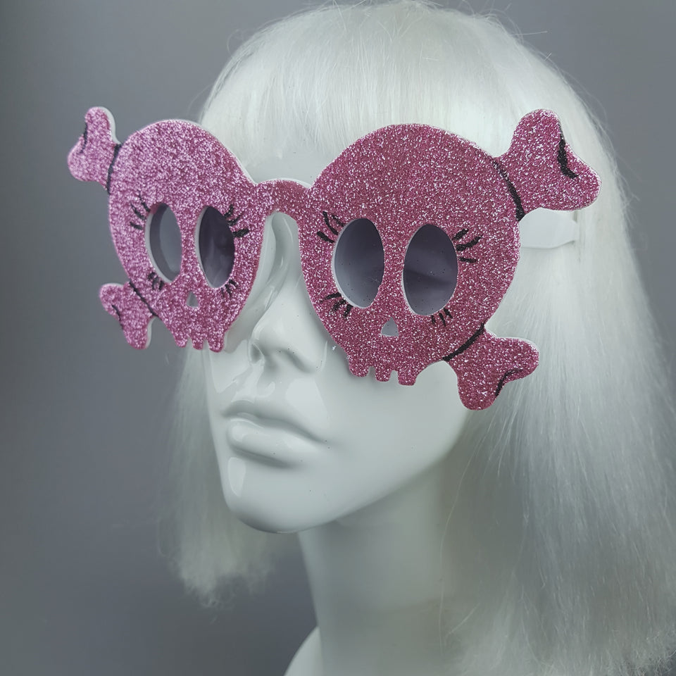 """Chicle"" Pink Glitter Skull Sunglasses"