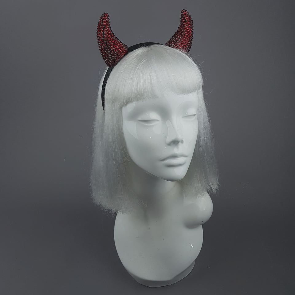 """Devil's Plaything"" Red Crystal Horns Headband"