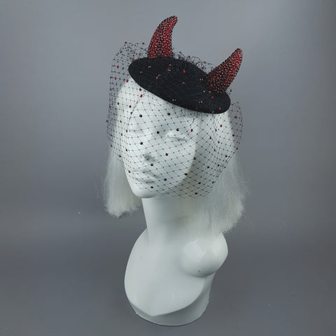 """The Devil Is A Woman"" Red Crystal Horns Veil Fascinator Hat"