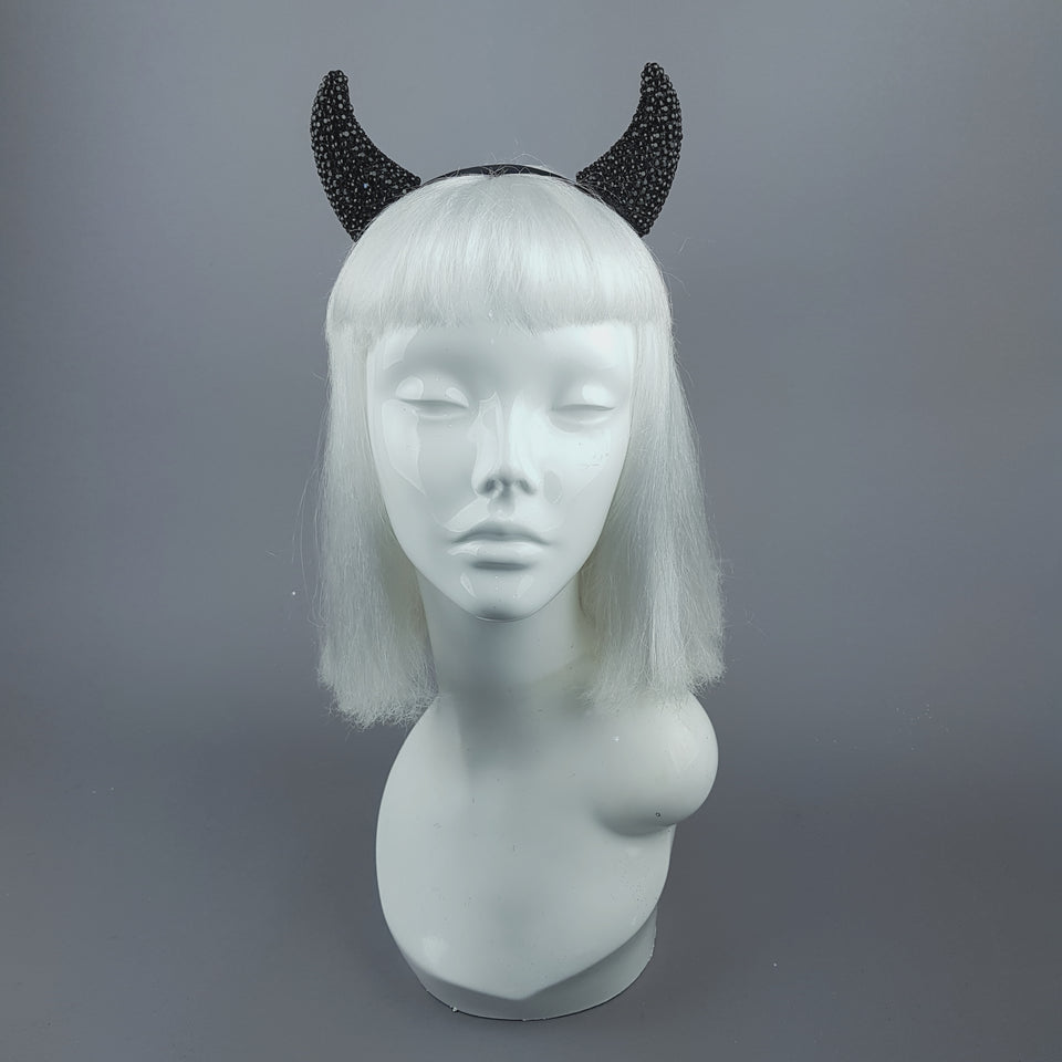 """The Devil Inside"" Black Crystal Horns Headband"