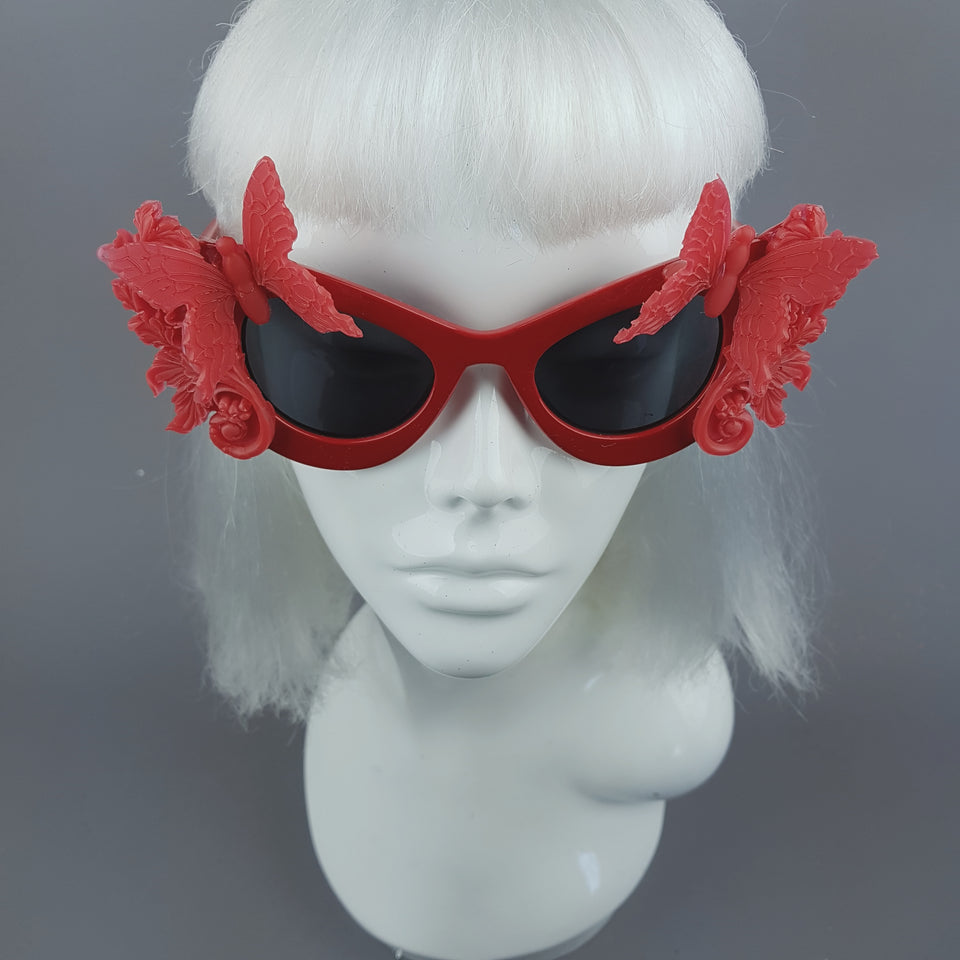 """Alucarda"" Red 3D Butterflies Filigree Catseye Sunglasses"