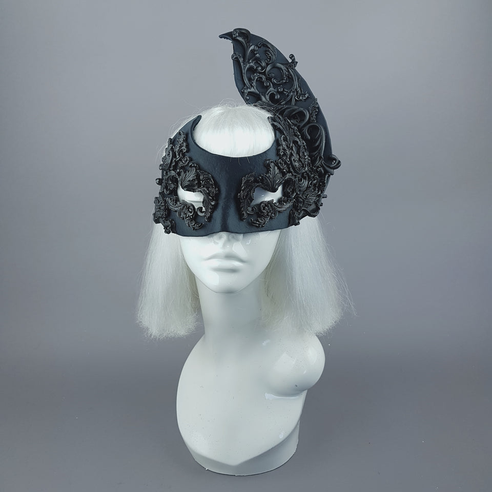 """Besotted"" Black Satin Filigree Mask"