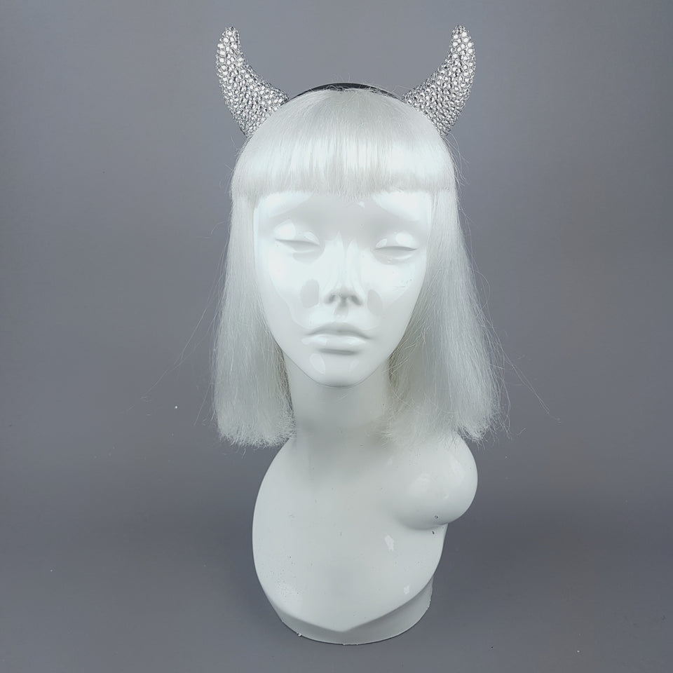 """Miss Lucifer'"" Clear Crystal Horns Headband"
