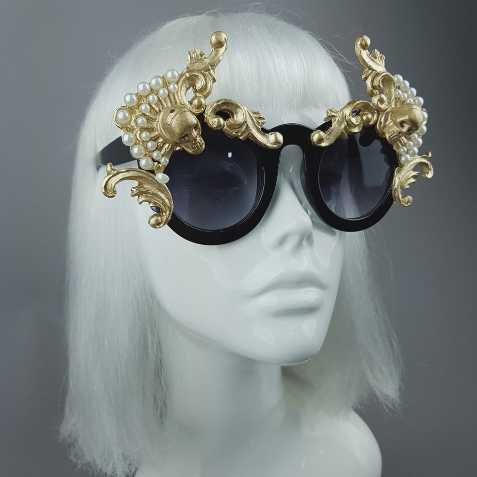 """Déesse"" Gold Filigree & Pearl Ornate Sunglasses"
